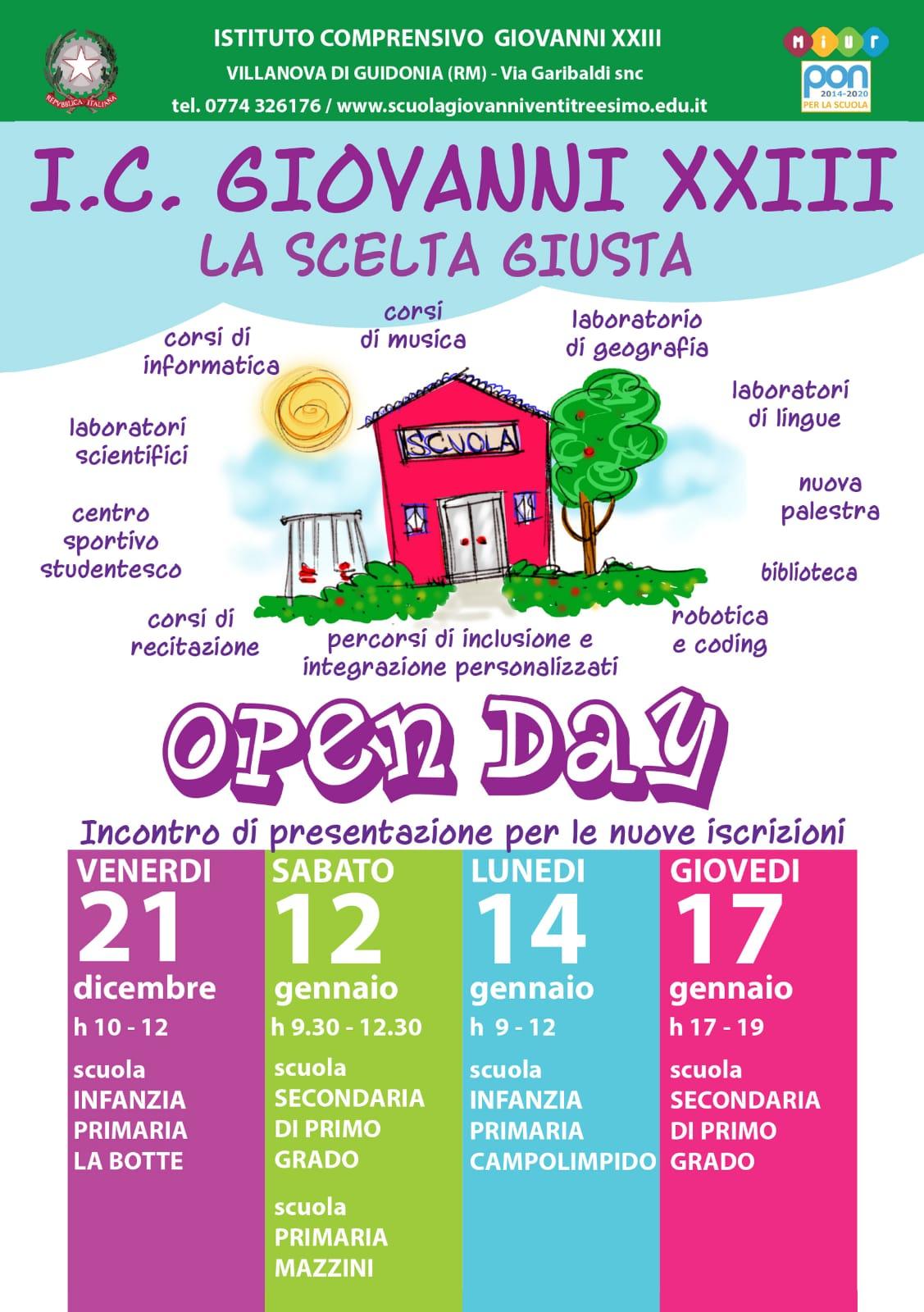 Le date dell'Open Day – venite a trovarci!